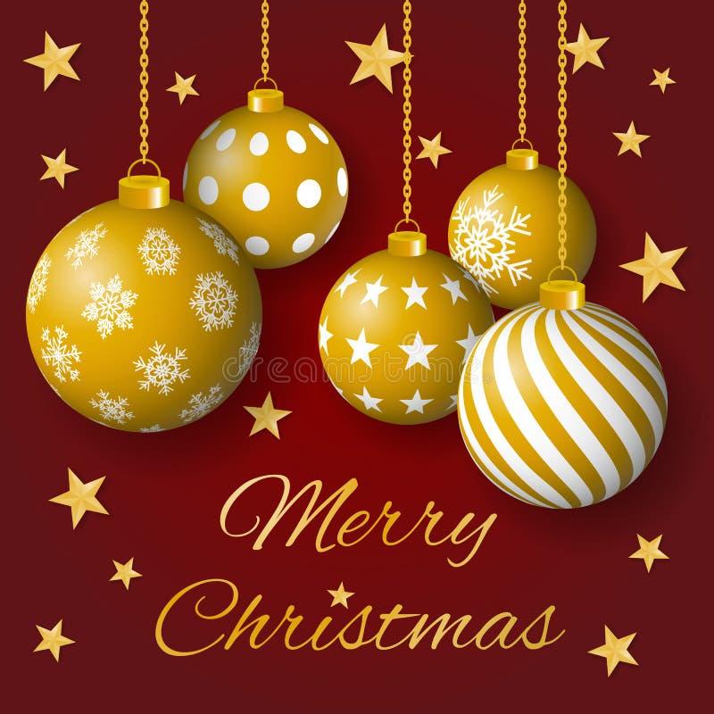 Vetor do cartão do Feliz Natal com bulbos e as estrelas dourados no fundo vermelho ilustração stock