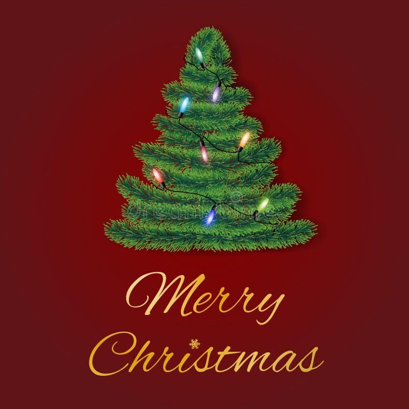 Vetor do cartão do Feliz Natal com ramos coníferos na forma de uma árvore decorada com luzes coloridas no fundo vermelho ilustração do vetor