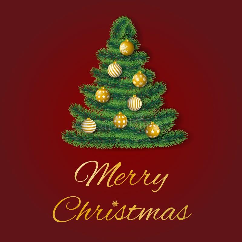 Vetor do cartão do Feliz Natal com ramos coníferos na forma de uma árvore decorada com os ornamento dourados no fundo vermelho ilustração royalty free