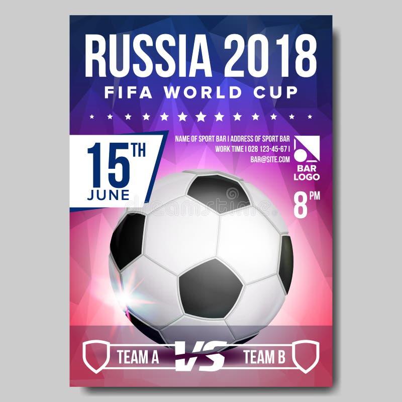 Vetor 2018 do cartaz do campeonato do mundo de FIFA Evento de Rússia Propaganda da bandeira do futebol Anúncio do evento desporti ilustração do vetor