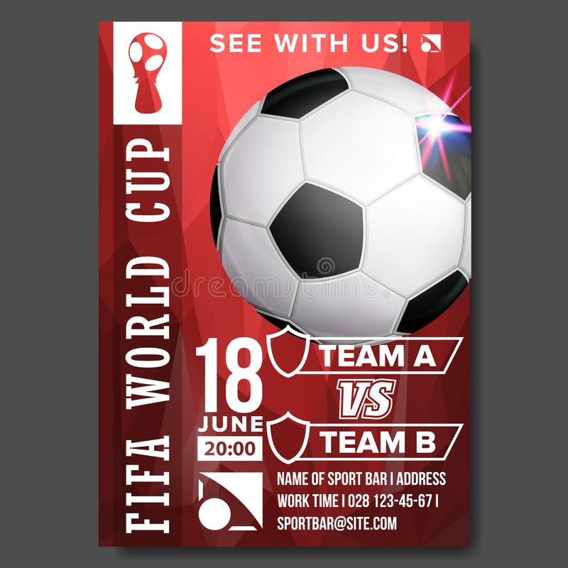 Vetor 2018 do cartaz do campeonato do mundo de FIFA Campeonato Rússia 2018 Anúncio do evento desportivo do futebol E ilustração stock