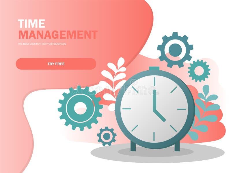 Vetor do cartaz da composição do planeamento de gestão do tempo e do conceito de controle ilustração do vetor