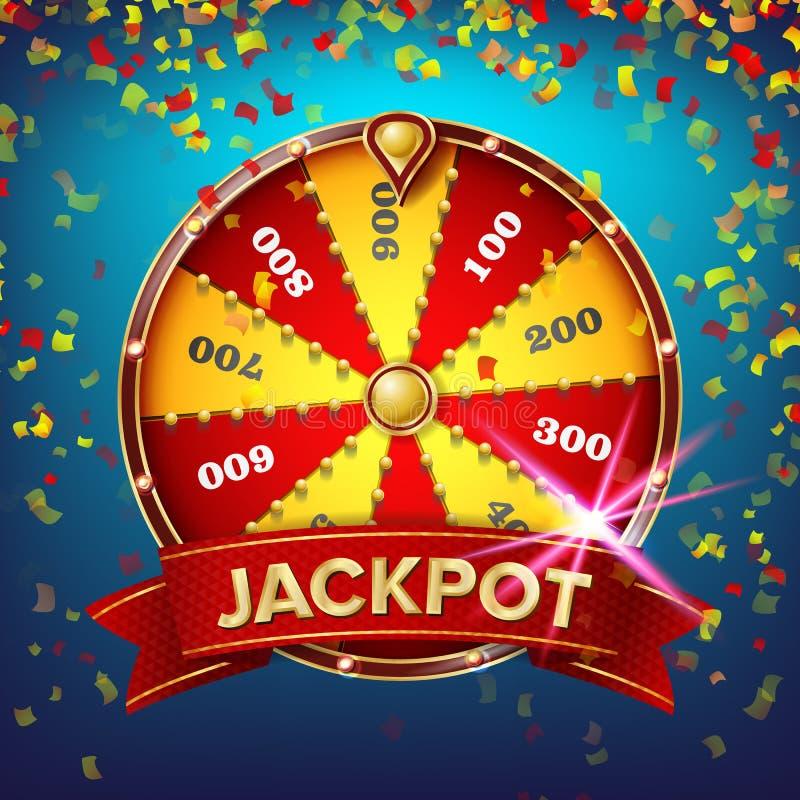 Vetor do cartaz da roda da fortuna Lazer da possibilidade do jogo Objeto 3d realístico Folheto do projeto da loteria Ilustração ilustração stock