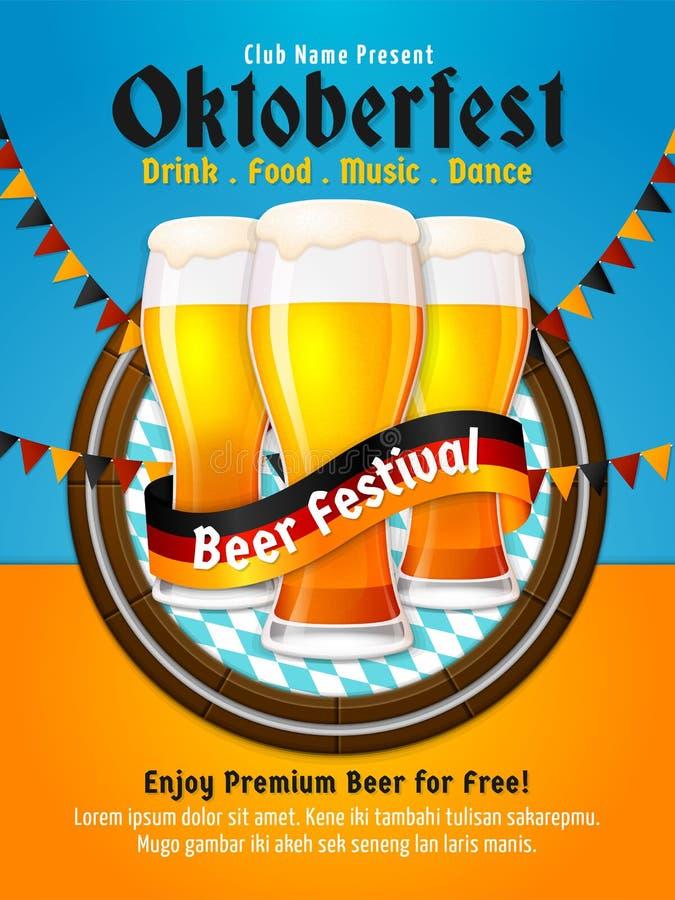 Vetor do cartaz de Oktoberfest Projeto do inseto do festival da cerveja de Munich Grupo de ilustração de vidro completa da cervej ilustração do vetor