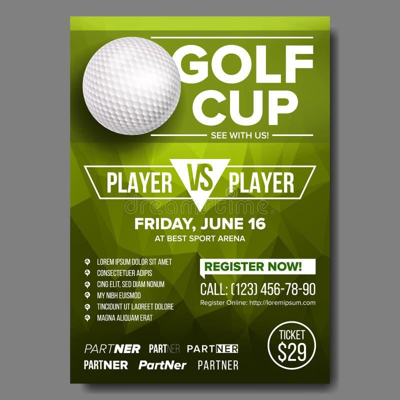 Vetor do cartaz do golfe Esfera de golfe Projeto vertical para a promoção da barra de esporte Competiam, projeto do inseto do cam ilustração do vetor
