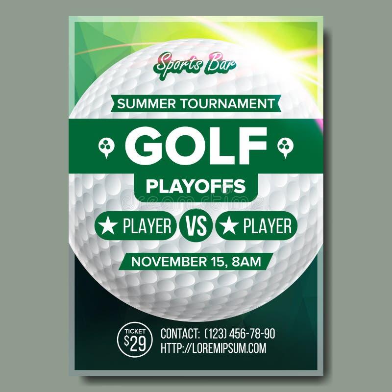 Vetor do cartaz do golfe Projeto para a promoção da barra de esporte Esfera de golfe Competiam moderno Tamanho A4 Liga do golfe d ilustração do vetor
