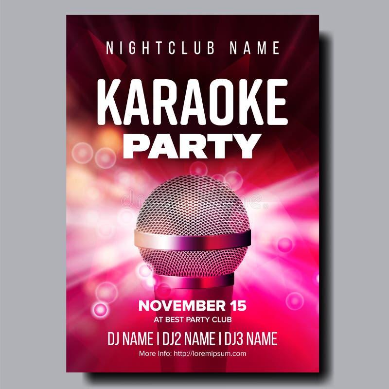 Vetor do cartaz do karaoke Inseto do partido Noite da música do karaoke Microfone de rádio Molde abstrato Divertimento da rocha s ilustração do vetor