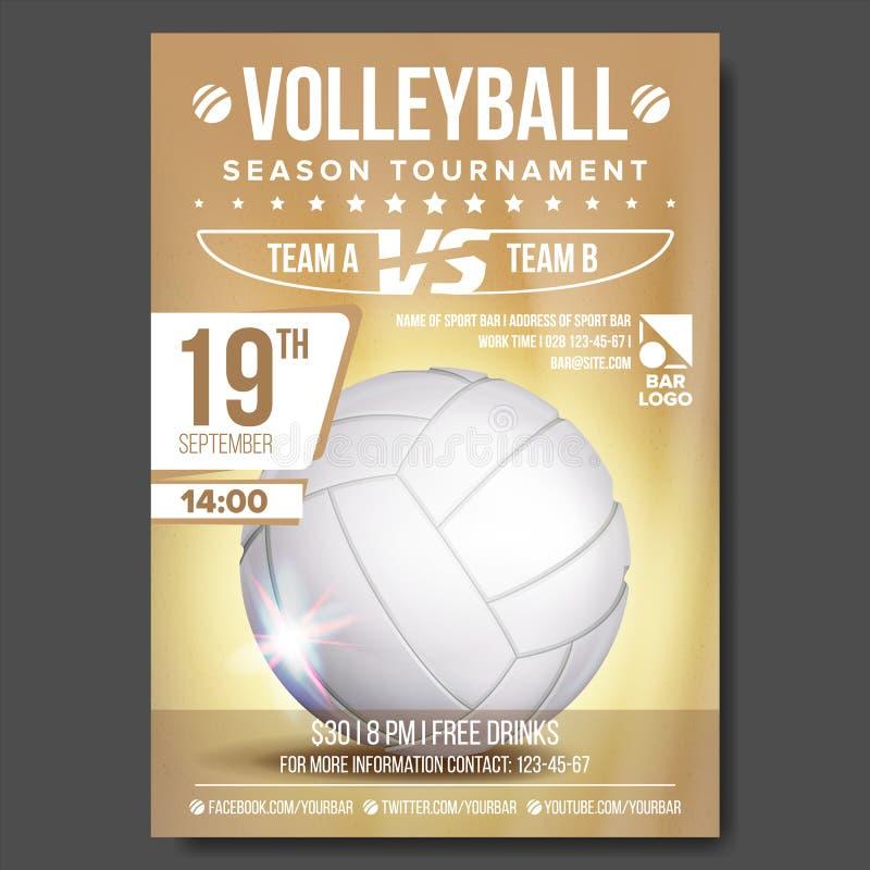 Vetor do cartaz do voleibol E Praia da areia Anúncio do evento desportivo Tamanho A4 Jogo, projeto da liga ilustração royalty free