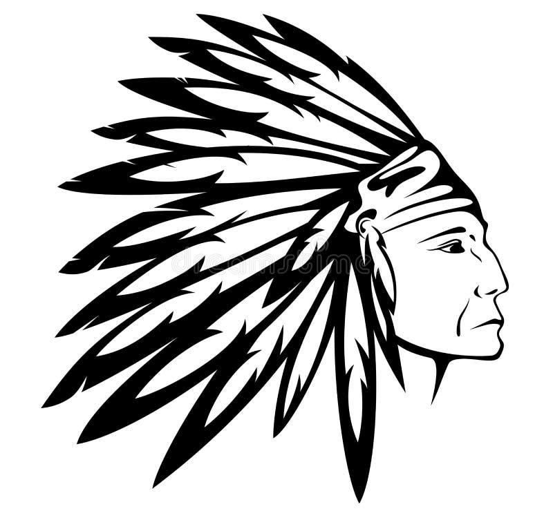 Vetor do chefe indiano do nativo americano ilustração royalty free