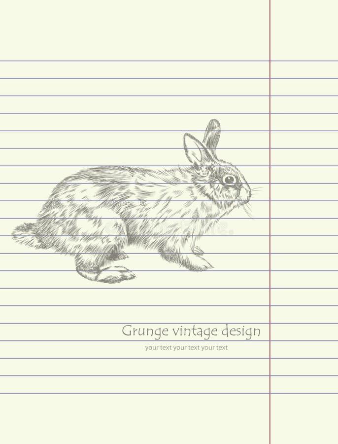 Vetor do coelho do esboço do desenho da mão ilustração do vetor