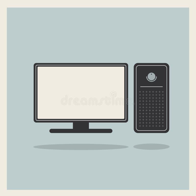 Vetor do computador pessoal e do monitor ilustração do vetor