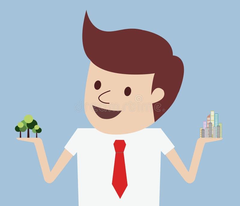 Vetor do conceito da árvore ou do arranha-céus do homem de negócios ilustração stock