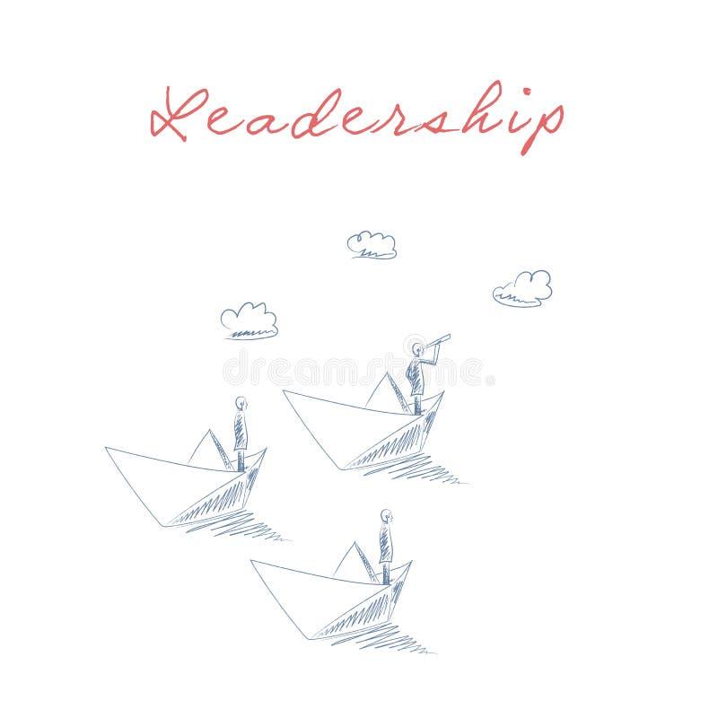 Vetor do conceito da liderança do negócio com o homem de negócios no barco de papel que olha através de um telescópio como um cap ilustração stock