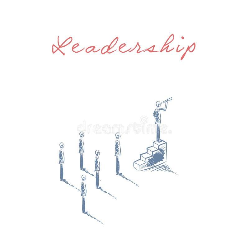 Vetor do conceito da liderança do negócio com o homem de negócios que olha através de um telescópio no alvo, objetivo, objetivo i ilustração do vetor