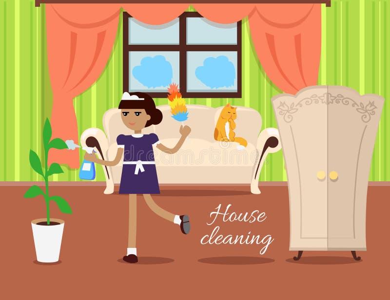 Vetor do conceito da limpeza da casa no projeto liso ilustração stock