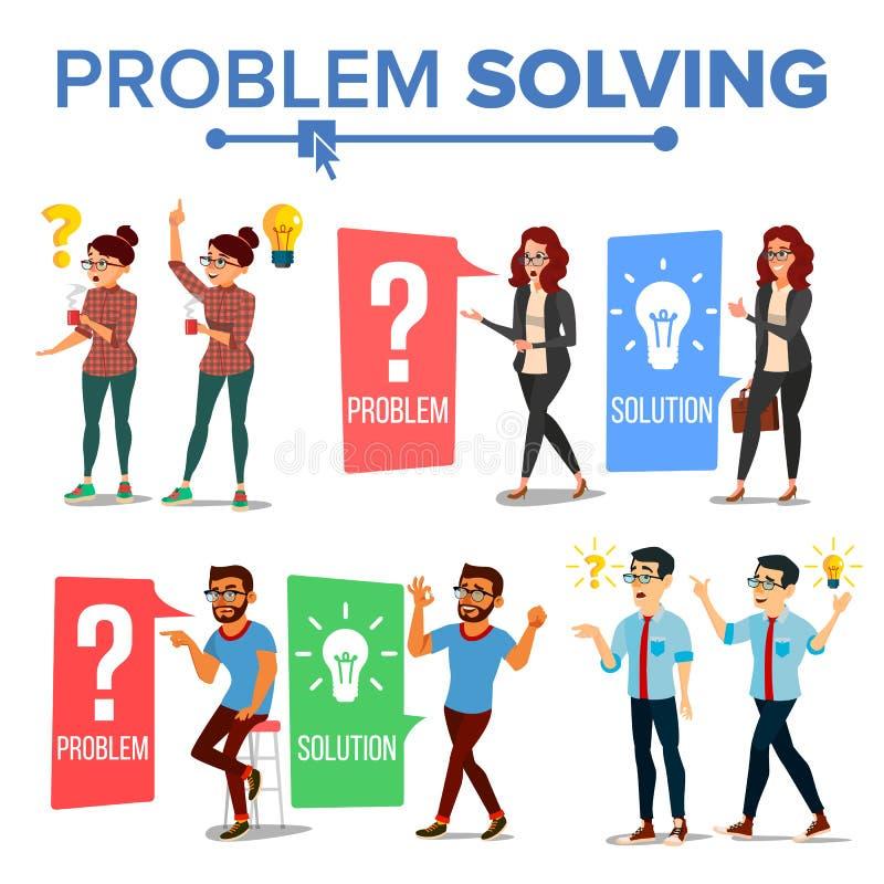 Vetor do conceito da resolução de problemas Homem e mulher de pensamento Ponto de interrogação, ampola Ideia criativa do projeto  ilustração do vetor