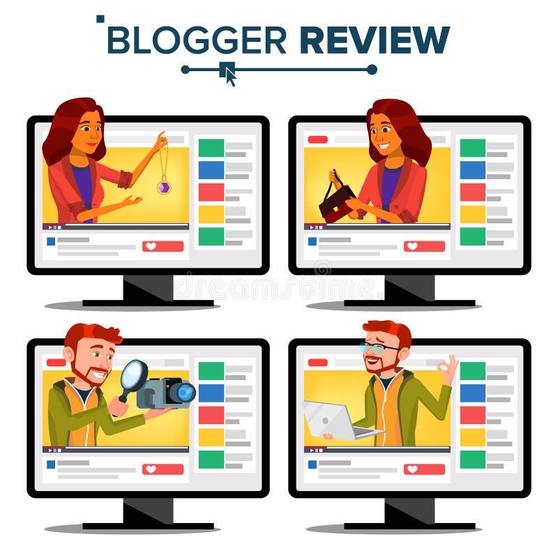 Vetor do conceito da revisão do Blogger Canal video do blogue Homem, Blogger video popular da flâmula da mulher gravação Em linha ilustração royalty free
