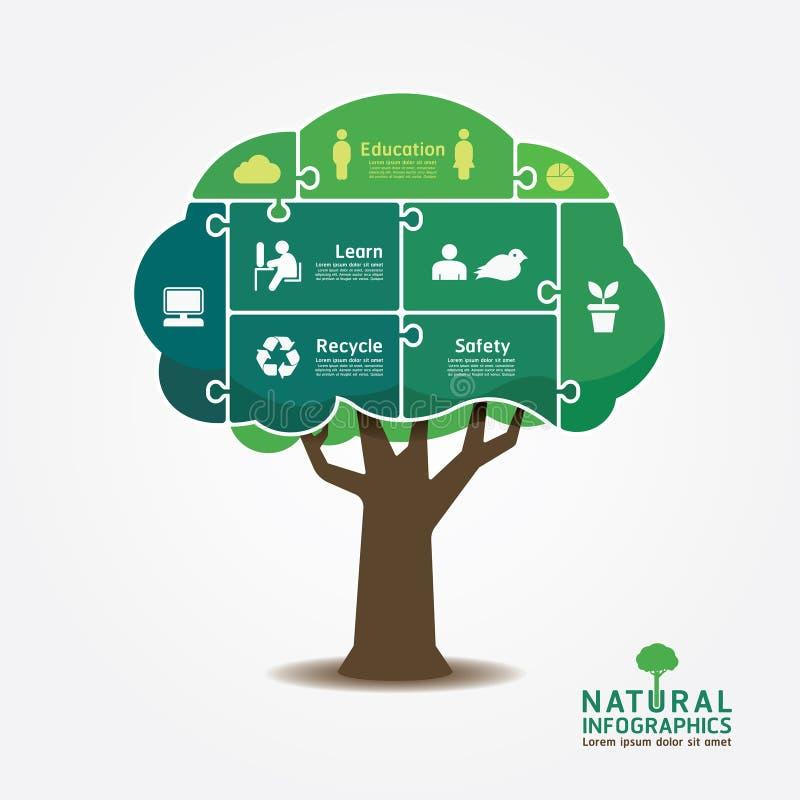Vetor do conceito da serra de vaivém banner.environment da árvore do verde de Infographic ilustração do vetor