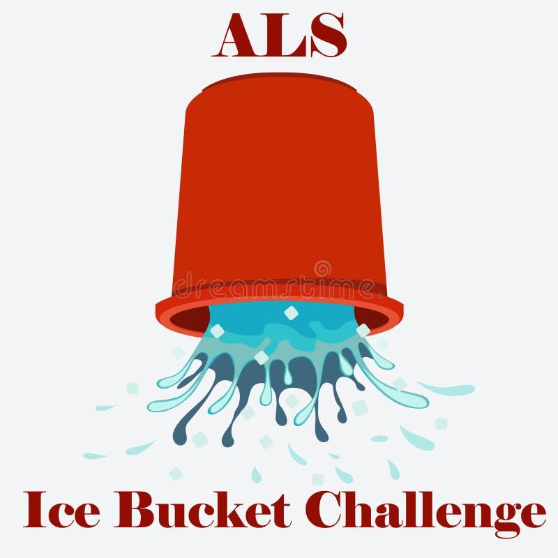Vetor do conceito do desafio da cubeta de gelo do ALS ilustração stock