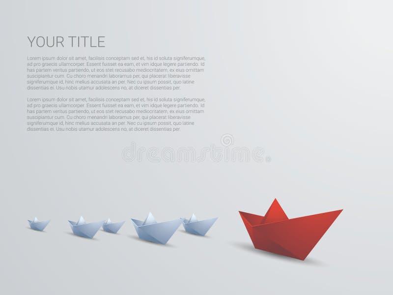 Vetor do conceito do negócio da liderança com papel vermelho ilustração royalty free