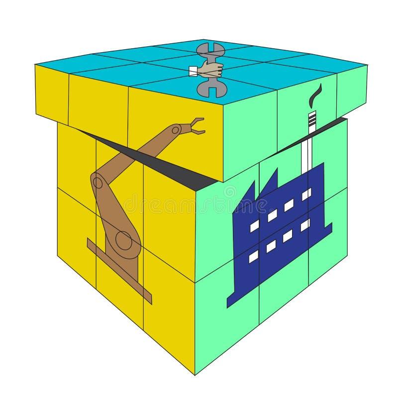 Vetor do conceito industrial do quadrado de Rubik 4X4 do cubo ilustração royalty free
