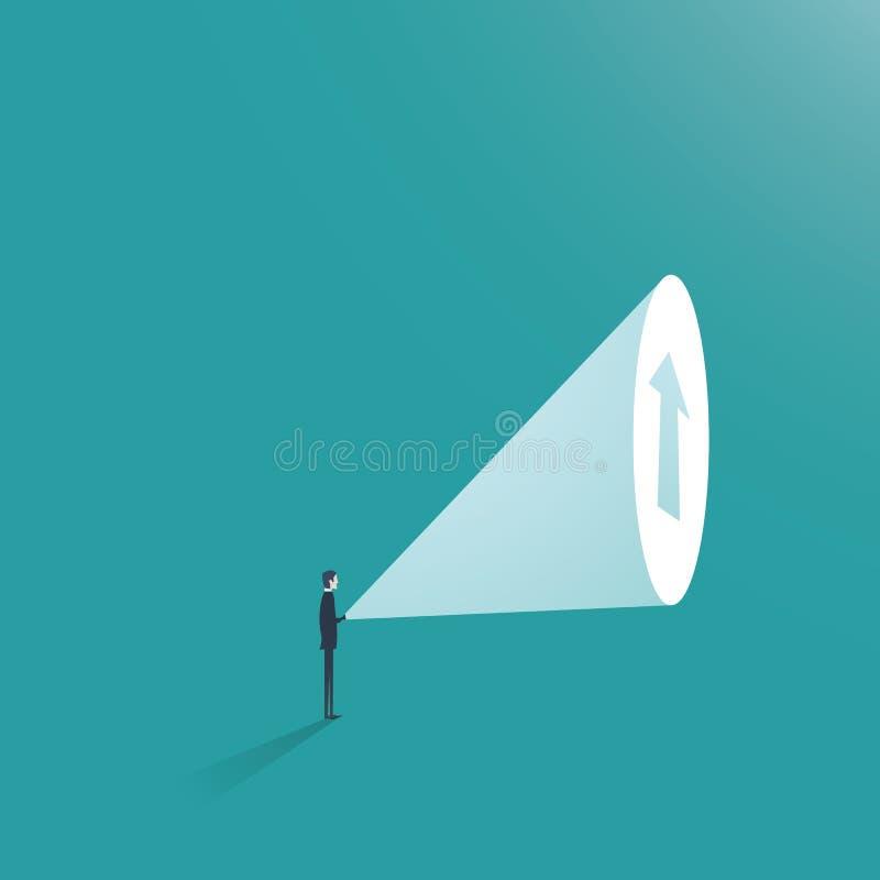Vetor do conceito do negócio da ambição do homem de negócio Homem de negócios com lanterna elétrica e seta acima como o símbolo d ilustração do vetor