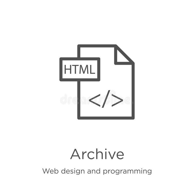 vetor do ?cone do arquivo do design web e da cole??o de programa??o Linha fina ilustra??o do vetor do ?cone do esbo?o do arquivo  ilustração stock