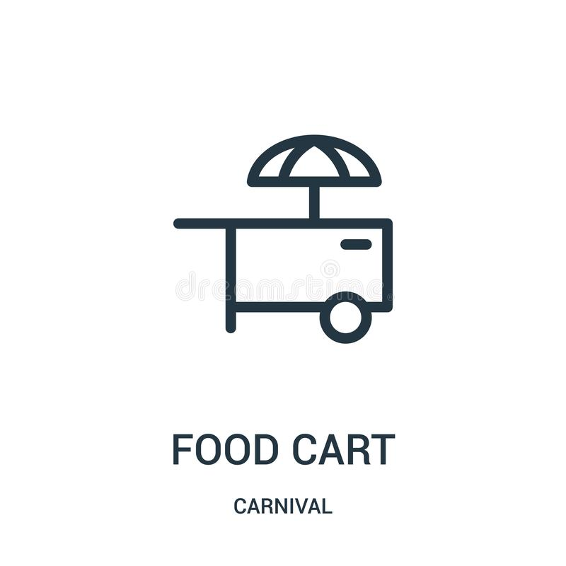 vetor do ?cone do carro do alimento da cole??o do carnaval Linha fina ilustra??o do vetor do ?cone do esbo?o do carro do alimento ilustração stock