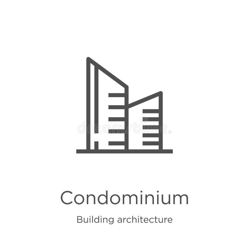 vetor do ?cone do condom?nio da cole??o da arquitetura da constru??o Linha fina ilustra??o do vetor do ?cone do esbo?o do condom? ilustração do vetor