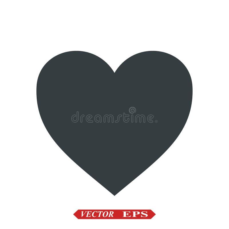 Vetor do ?cone do cora??o S?mbolo perfeito do amor Sinal do dia do Valentim s, emblema isolado no fundo branco com sombra, plano ilustração do vetor