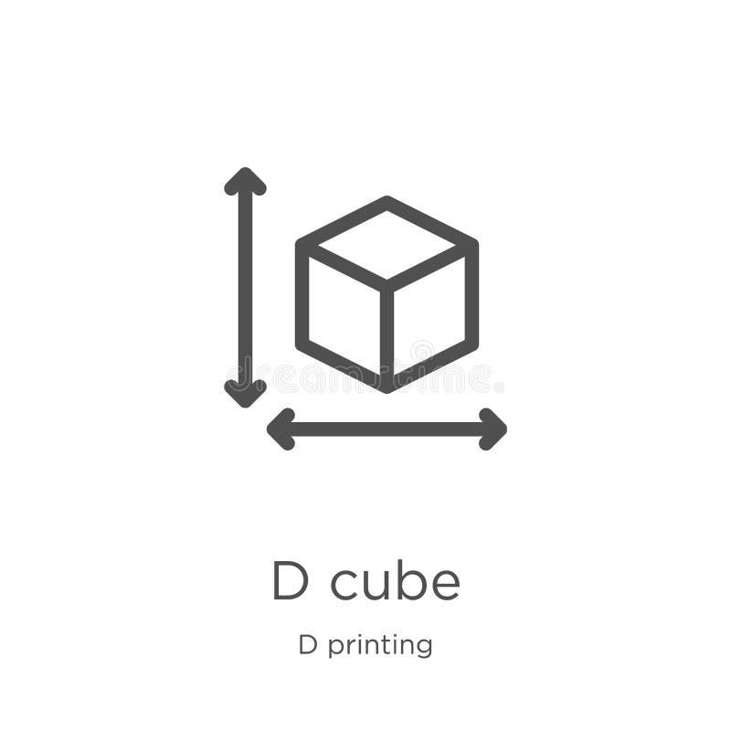 vetor do ?cone do cubo de d da cole??o de impress?o de d Linha fina ilustra??o do vetor do ?cone do esbo?o do cubo de d Esbo?o, l ilustração do vetor