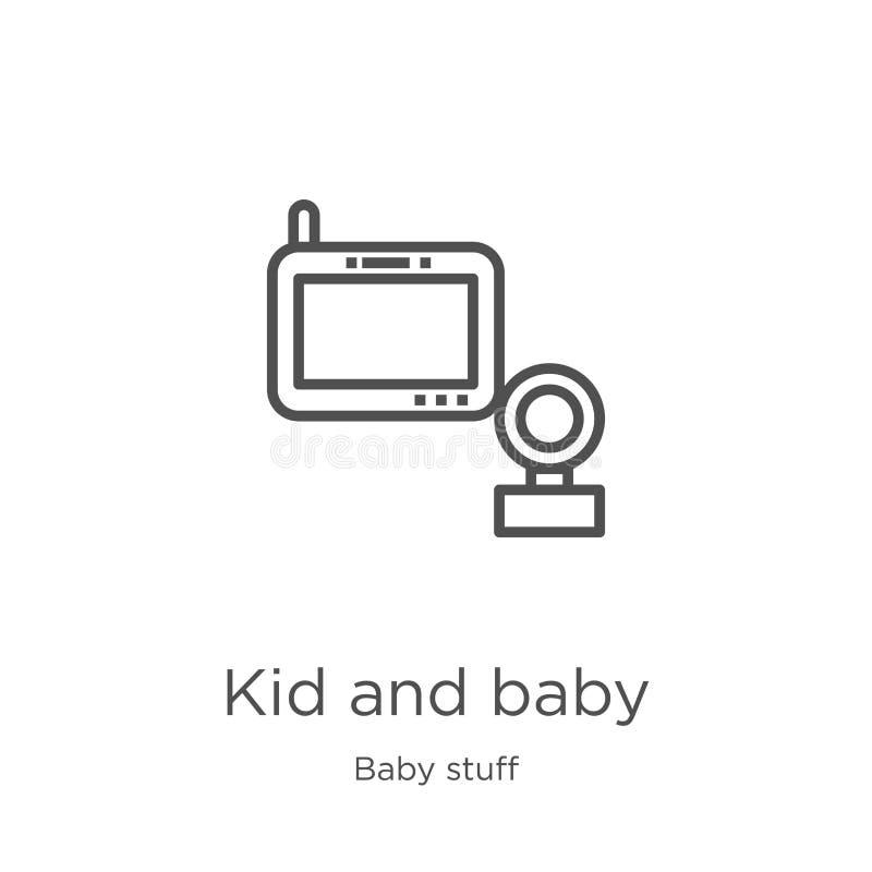 vetor do ?cone da crian?a e do beb? da cole??o do material do beb? Linha fina crian?a e ilustra??o do vetor do ?cone do esbo?o do ilustração do vetor