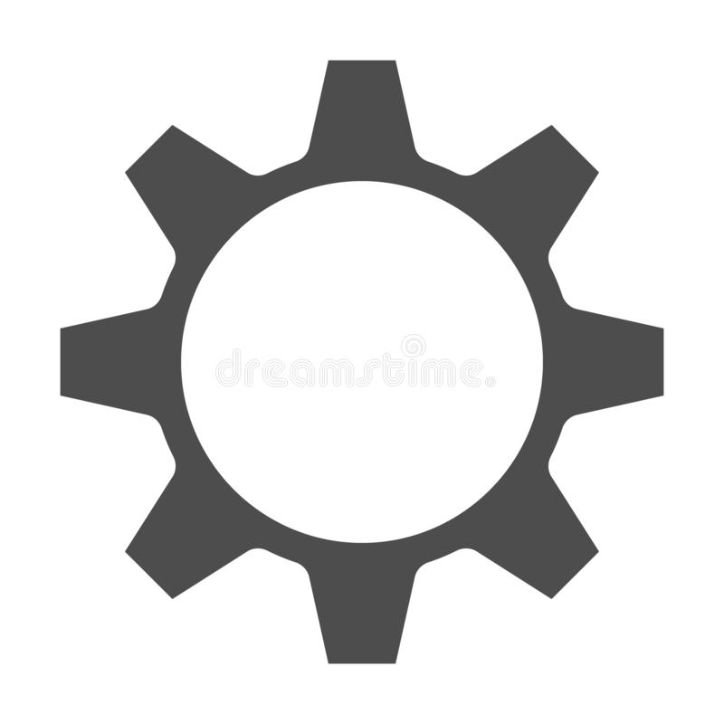 Vetor do ?cone da engrenagem S?mbolo liso simples Ilustra??o preta perfeita do pictograma no fundo branco ilustração stock