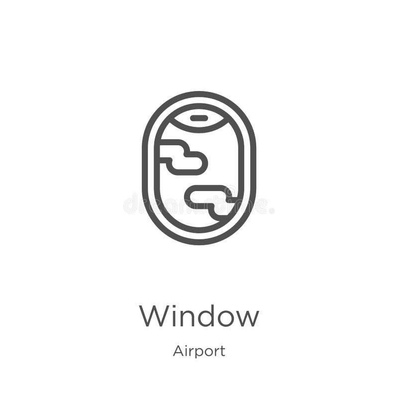 vetor do ?cone da janela da cole??o do aeroporto Linha fina ilustra??o do vetor do ?cone do esbo?o da janela Esboço, linha fina í ilustração do vetor