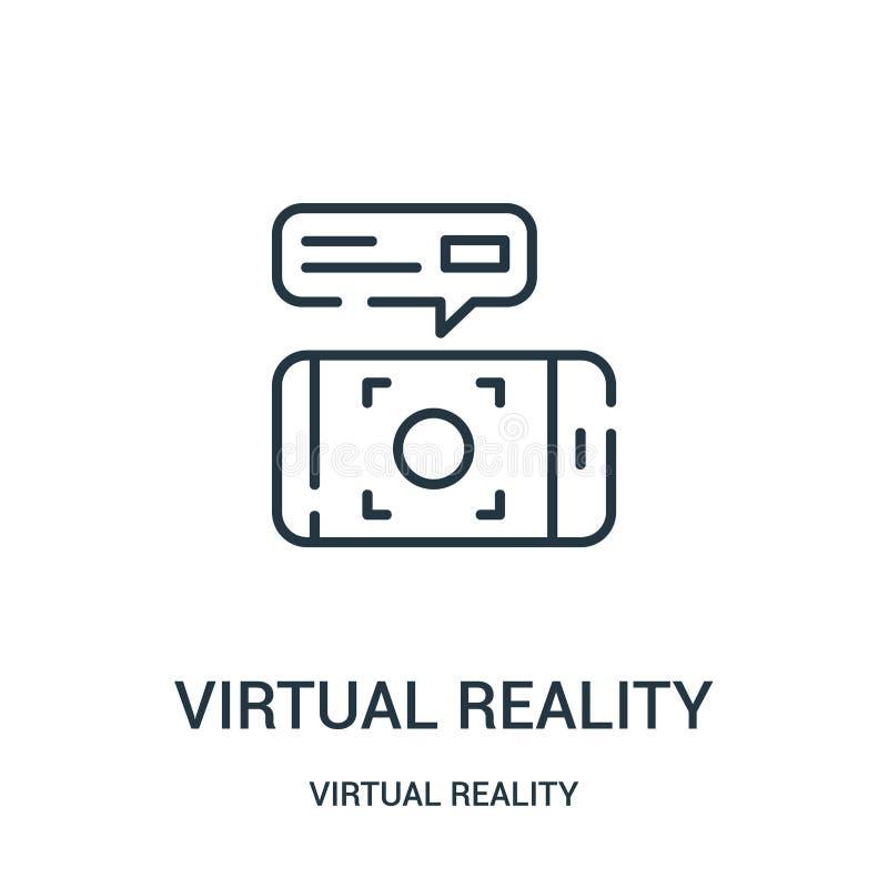 vetor do ?cone da realidade virtual da cole??o da realidade virtual Linha fina ilustra??o do vetor do ?cone do esbo?o da realidad ilustração stock