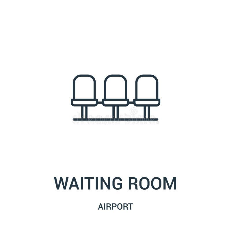 vetor do ?cone da sala de espera da cole??o do aeroporto Linha fina ilustra??o do vetor do ?cone do esbo?o da sala de espera ilustração stock