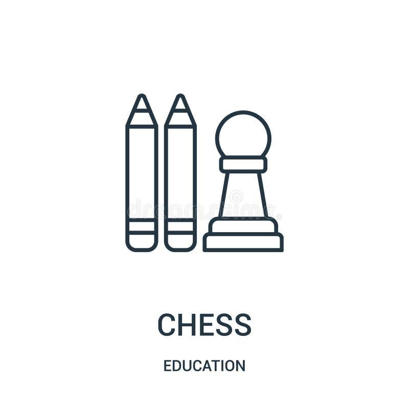 vetor do ?cone da xadrez da cole??o da educa??o Linha fina ilustra??o do vetor do ?cone do esbo?o da xadrez ilustração do vetor