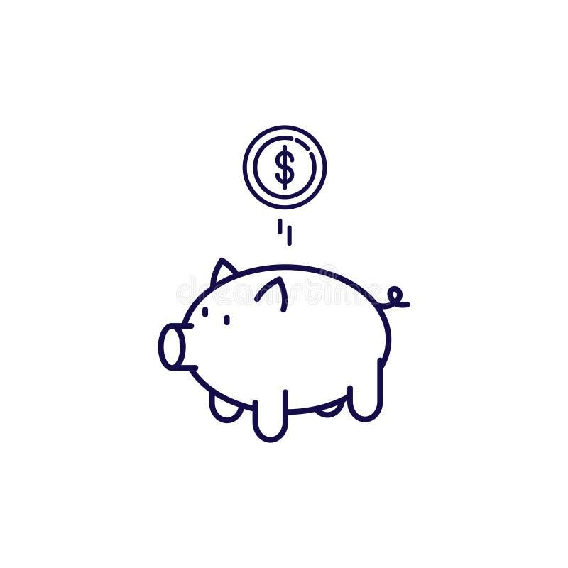 Vetor do ?cone do mealheiro Moneybox do estilo do esboço ilustração royalty free