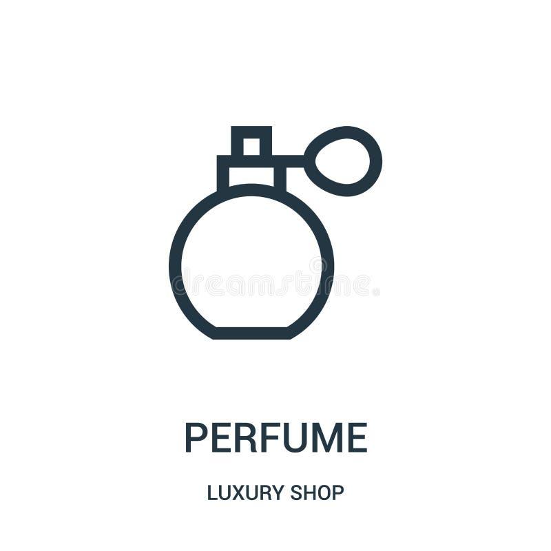 vetor do ?cone do perfume da cole??o luxuosa da loja Linha fina ilustra??o do vetor do ?cone do esbo?o do perfume ilustração stock