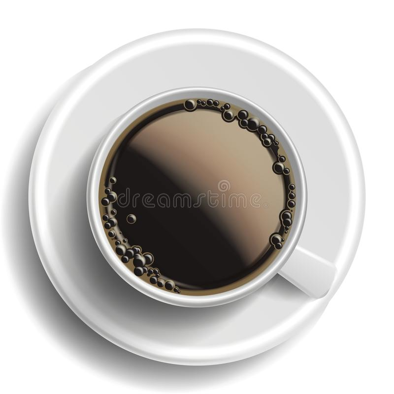 Vetor do copo de café Vista superior Café quente do americano Bebida do copo do fast food do café bolhas Caneca branca realístico ilustração stock