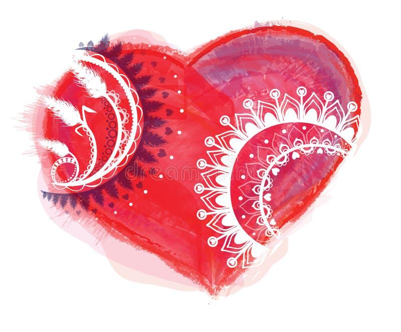 Vetor do coração da aquarela com ornamento ilustração do vetor