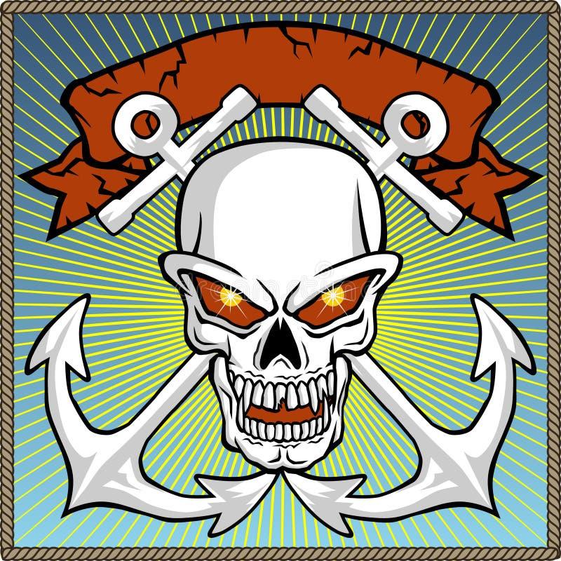 Vetor do crânio com a âncora gêmea no quadro da corda ilustração royalty free