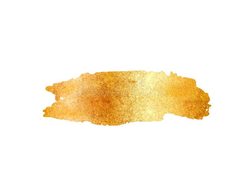 Vetor do curso da escova da folha do brilho do ouro Fundo dourado da mancha da pintura isolado no branco Teste padrão do metal do ilustração do vetor