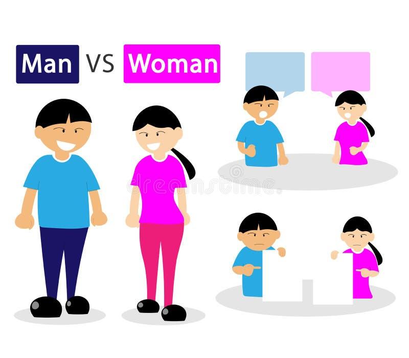 Vetor do desacordo da discussão do homem e da mulher do cabelo preto ilustração do vetor