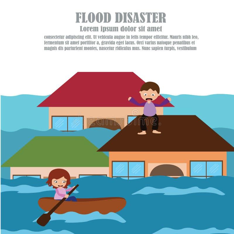 Vetor do desastre de inundação ilustração royalty free