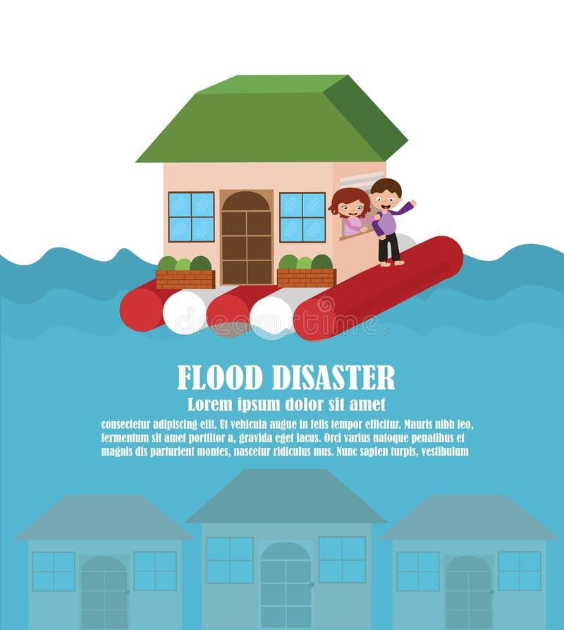 Vetor do desastre de inundação ilustração do vetor