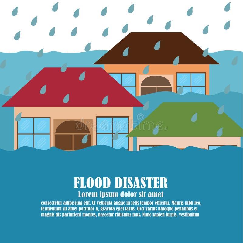 Vetor do desastre de inundação ilustração stock