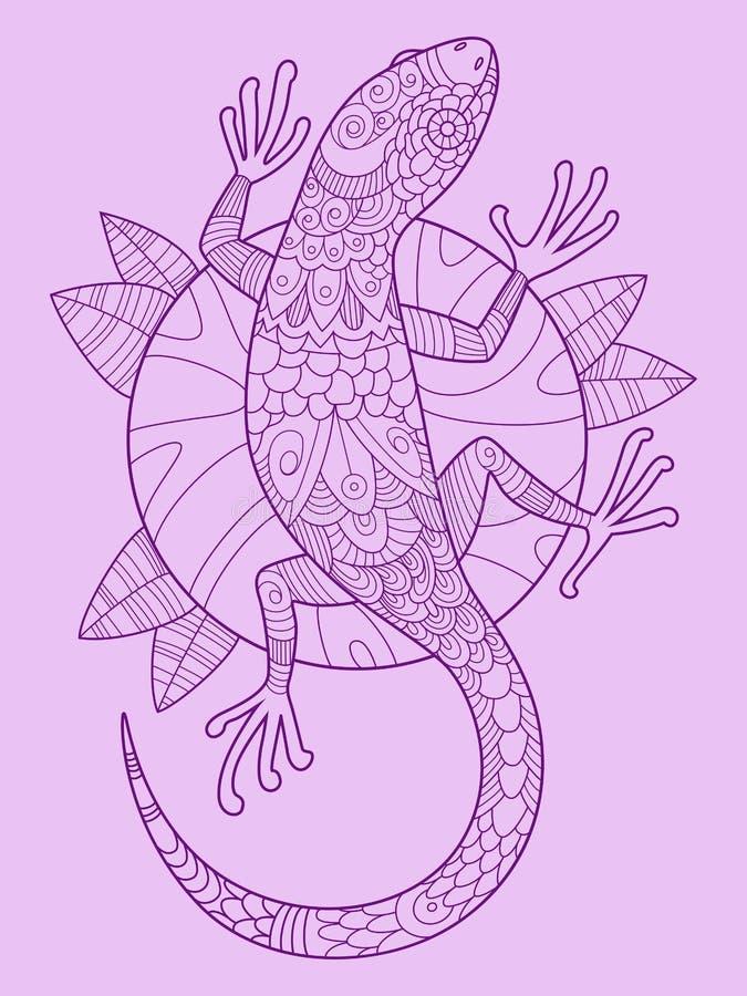 Vetor do desenho da cor do lagarto ilustração stock