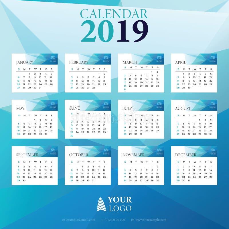 Vetor 2019 do desenho da garatuja do calendário com a semana que começa em domingo ilustração stock