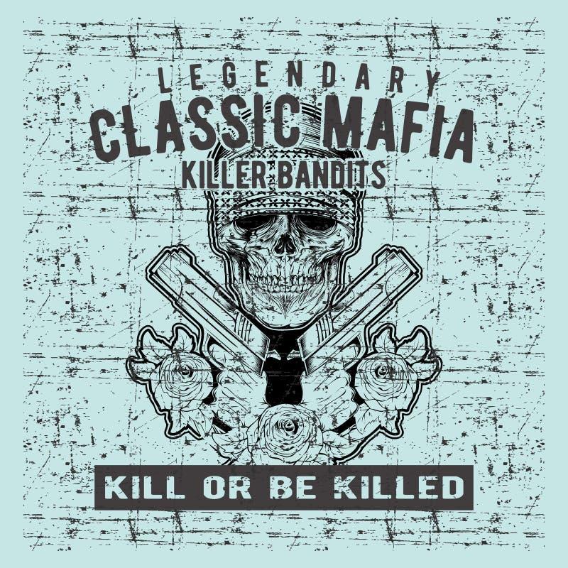 Vetor do desenho da mão da arma da terra arrendada da máfia do crânio do vintage do estilo do Grunge ilustração royalty free